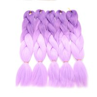 Wholesale Purple synthetic braiding hair ombre kanekalon jumbo braid cheap sale two tone kanekalon braiding hair crochet braids style