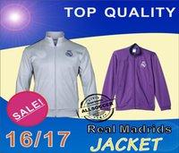 16 / 17Real-Madrids chaqueta blanca y púrpura Calidad superior de Tailandia, jerseys del entrenamiento del fútbol, suéter del fútbol, ropa de entrenamiento, jerseys del fútbol
