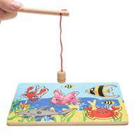 Cheap Wholesale-2016 Children Fishing Game & Wooden Ocean Jigsaw Puzzle Board Magnetic Rod Toy Outdoor Fun Toy Gift For Kids
