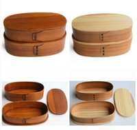 Wholesale Family Suitable Japanese style cedar double deck portable container bento box of students lunch sushi box and retail