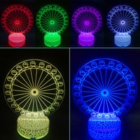 bedside lamp sale - 3D LED Night Lights Stereo Ferris Wheel Lamps Bedroom Decorative Colors Changing USB Bedside Lamp Ornaments Table Light Hot Sale kx