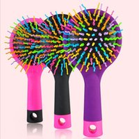 as pic as pic sent in random Wholesale- Magic Hair Comb Brush Rainbow Volume Styling Tools Anti Tangle Anti-static Head Massager Hairbrush With Mirror