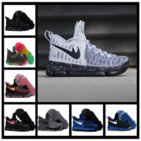 2017 Kevin Durant 9 Chaussures de basket-ball Hommes KD 9 Chaussures Warriors Away Blanc Bleu Or Accueil Bleu Jaune Atheletic Bottes Traners Chaussures TAILLE 7-12