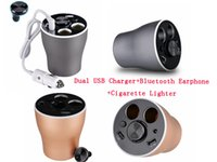 24V MP3 / MP4 Player Gold Car Charger Cup Multifunction Bluetooth Wireless Speakers Dual USB Cigarette Lighter Handfree Calls Adapter for Android iPhone Samsung GPS