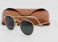 achat en gros de mens verres concepteur d'or-1pcs Lunettes de soleil rondes de mode de haute qualité Hommes Femmes Designer lunettes de soleil de marque Or Métal Noir Lunettes de 50mm vertes Meilleur cas brun