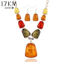amber stones for sale - 17KM New hot sale Fashion Charm Stone gem Synthetic amber Wedding jewelry sets choker necklace drop earrings for women