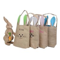 Wholesale 5 Colors Funny Design Easter Bunny Bag Ears Bags Cotton Material Easter Burlap Celebration Gifts Christmas Bag Cotton Handbag New