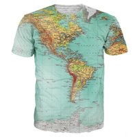 Vente en gros-Carte T-shirts imprimés 3D World Urban Threads Hipsters Retro Globe Image Of Americas T-shirt Short Sleeve Vibrant Summer Tees