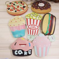 Wholesale 2016 Creative Cute Cartoon Coin Purse Key Chain For Girls Leather Icecream Cake Popcorn Kids Zipper Change Wallet Card Holder