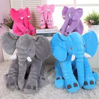 Camas muñeca al por mayor Baratos-Venta al por mayor-35cm / 14 '' Kawaii Bebé elefante animal muñeca de estilo relleno de peluche Juguetes Elefante almohadilla almohada almohada relleno de regalos para niños 01