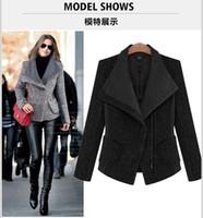 Wholesale 2017 New Winter jacket women wool coat fashion design thicken Covered Button temperament turn down collar woolen parkas
