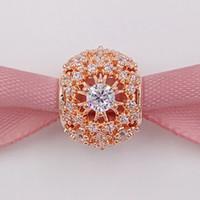 al por mayor collar de la joyería de oro rosa plateado-925 cuentas de plata abiertas abstractas pavé encanto con cristal se adapta a Europa Pandora estilo joyería pulseras collar 781370CZ oro rosa chapado