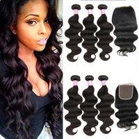 fermeture à lacets achat en gros de-Cozy Brazilian Virgin Hair Bundles with Closure Unprocessed Body Wave Cheveux Humains Weave 3 Bundle Offres avec Lace Top Closure Part Gratuite