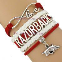 arkansas razorbacks - Custom Infinity Love Arkansas State Crimson Tide Razorbacks Athletic college Team Sports Football Bracelet Adjustable Bangles Drop Shipping