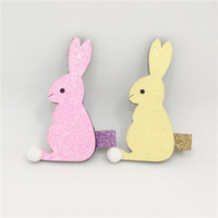 bande dessinée de lapin jaune achat en gros de-20pcs / lot Rose Rabbit Cheveux clip Pâques Glitter Feutre Bunny Barrette Printemps jaune Cartoon Animal épingle à cheveux Pom Pom queue queue de lièvre