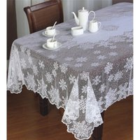 Wholesale Christmas Snowflake table clothes white Lace Tablecloths Ride Happy Xmas Festival Table Round Clothes Table Overlay AY880026