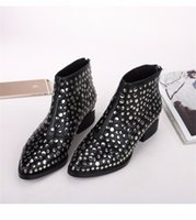 aw boots - 2016 Winter AW Newest Susanna Studded Leather Buckle Ankle Boots For Women Round Toe Strong Cozy Heels Shoes Women zapatos mujer