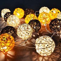 beach string party lights - Creative Rattan Sepak Takraw Lights m LED String Lights Garlands Villa Fence Beach Bar Wedding Christmas Party Decorations