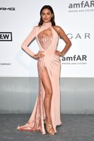 Wholesale 2017 Sexy Inspired by Irina Shayk Celebrity Evening Dress Prom Dress Red Carpet Dress Mermaid Light Pink One Shoulder Prom Evening Gown