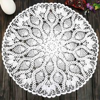 """Wholesale Knitting Doily - Wholesale-Vintage 23"""" Round Cotton White Feather Hand Crochet Doilies Wedding Event Table Decor Doily Placemat Knit TableCloth"""