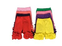 Wholesale Children cotton icing solid ruffle short pants baby girls summer solid multilayer ruffles shorts icing solid capri colors