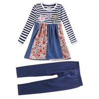 Wholesale Novatx spring Children suit top stripe Denim fabric Coat with denim and floral Tight trousers Pure royalblue