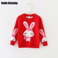 baby knit sweater pattern - Baby Kids Clothing girls Sweaters Pullover Spring Autumn Lolita style Rabbit pattern Cotton long sleeve Knitwear Knitting for children