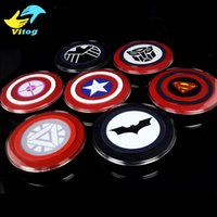 american charger - 2015 Qi Wireless Charger Charging Pad American Captain Avengers Iron Man For Samsung Galaxy S6 and Edge s7 edge with retail package