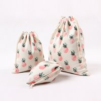 Wholesale Popular Storage Bags For Lady Men Japanese and Korean Style Simple Personality Pineapple Pattern Red Cloth Bag