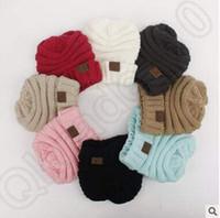 12 colores de los niños CC de moda Beanie Cable Slouchy Caps sombreros al aire libre de invierno hechos punto de lana Caps Oversized Chunky Beanies CCA5417 100pcs