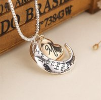 Wholesale 2017 High Quality Heart Jewelry I love you to the Moon and Back Mom Pendant Necklace Mother Day Gift Fashion Jewelry TO1507
