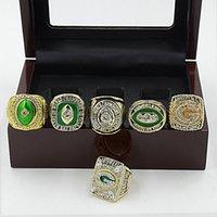 achat en gros de emballeurs anneau-6pcs / set Green Bay Packer Super Bowl Championnat Anneaux Set American Football Champion du Monde Anneaux Classique Collection Bijoux