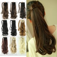 Wholesale quot Synthetic Hair Long Wavy Clip In Ribbon Ponytail Hair Extensions curly Hairpiece Fake Hair pony Tails ponytails hair pieces