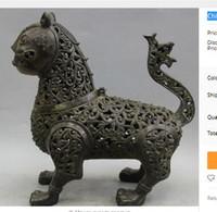 achat en gros de antique chinois brûleur d'encens en bronze-Brass Antique Collectible Chinese Bronze Animals Cat Head Statue Bouddhisme Encense Burner Censer