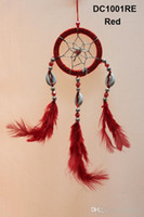 handmade accessories cars achat en gros de-Fleur Motif Lace Dream Catcher With Beads Feather Car Wall Hanging Décoration Accessoires Dreamcatcher Handmade Gifts