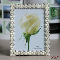 Wholesale Wedding Accents Rectangle Silver White Pearls and Clear Rhinestones Jeweled x7 inch Zinc Alloy Picture Frame