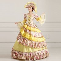 Wholesale Customized Retro Yellow Floral Print th century Victorian Lolita Dress Costume Marie Antoinette Ball Gowns For women