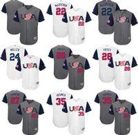 Wholesale 2017 USA Baseball Jerseys Giancarlo Stanton Ian Kinsler Nolan Arenado Buster Posey Andrew Miller World Baseball Classic Jersey