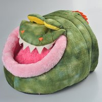 Wholesale Estrella Novelty Soft Hippo Crocodile Shaped Dog Bed Pet Dog Puppy House Cat House Cat Bed Kennel Bed with Short Pile Velour