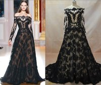 Wholesale Real Image Lace Evening Dresses Inspired By Zuhair Murad A Line Transparent Neckline Long Sleeves Black over Nude Evening Gowns