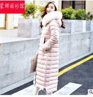 Wholesale Women s Down Parkas Hooded Long White Duck Down Head Detachable Full Three Colors Fashion Free Shipment