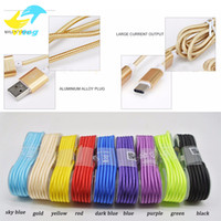 Wholesale 1 M Long Strong Braided USB Charging Cable type c cable For Samsung HTC Sony LG Micro USB Wire With Metal Head Plug USB