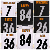 Wholesale Ben Roethlisberger Jerseys Men Unfirom Black Stitched Shirts Cheap Wears Le Veon Bell Jerome Bettis Antonio Brown