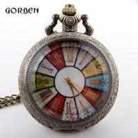 Antique antique steel wheels - Bronze Colorful Wheel Rome Pocket Watch Necklace Pendant Chain Vine Steampunk Quartz watches mens relogio de bolso