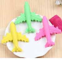 Wholesale 10pcs Creative Aircraft Shape Eraser Stationery Student Supplies Cartoon Office School Supplies Gift Erasers Papelaria