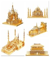 Wholesale 3D Metal Puzzles World Classical Famous Building Model DIY Model Heart of Chechnya mosquekit Children Jigsaws toys Present Gift