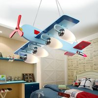 airplane pendant light - Eye protection children s room creative cartoon cute LED lighting bedroom pendant light boy room airplane pendant lamp