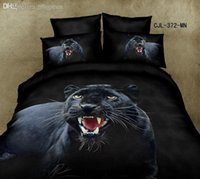 achat en gros de literie d'impression animale jumelle-Vente en gros-Good quailty garçons Black queen couette couette housse de literie chèvre chouette 100 COTTON 3d animal cartoon bedding Set pour lit double queen