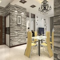 Wholesale Chinese Style Dining Room D Wallpaper Stone Brick Design Background Wall Vinyl Wallpaper Modern For Living Room Wallcovering