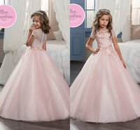Girl Applique Tulle Princess Pink Short Sleeve Flower Girl Dresses 2017 New A Line Tulle Sheer Neck Zipper Back First Communion Dresses Cheap Custom Made